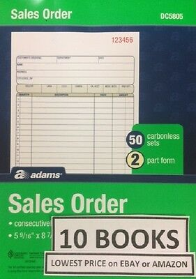 10 Adams DC5805 Carbonless Duplicate Sales Order Invoice Books 500 Sets Tops x10