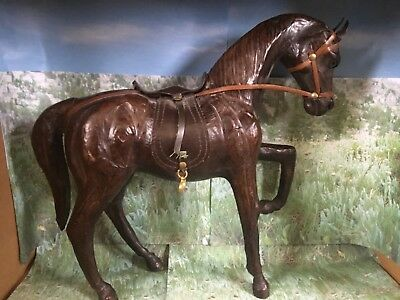 """Vintage Large Leather Wrapped Dark Brown Horse with Saddle 12"""" tall"""