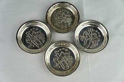 Set of 4 Vintage Webster Sterling Cocktail Theme Coasters RARE 76 Grams 3 3/8""