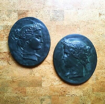 Pair Italian Plaster Faux Bronze Neoclassical Season Wall Plaques Spring Winter