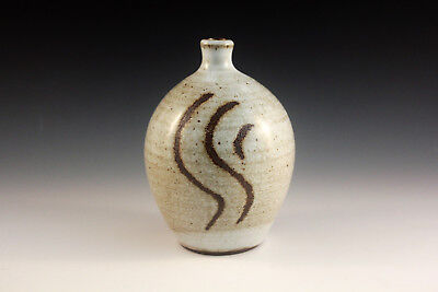 Pottery Hand Made Wheel Thrown. Bottle, White over Black Mountain Clay Rollins