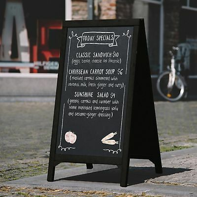 Freestanding A-Frame Wood Chalkboard, Sidewalk Sandwich Menu Memo Board Sign,