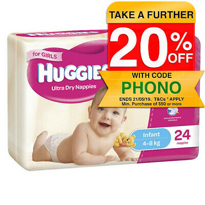 Huggies Size 2 4-8kg Ultra Dry Nappies Girl 24pk/Nappy Diaper Baby Infant/Disney