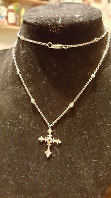 Amazing vintage sterling silver cross with real diamonds and garnet!! 24 inch