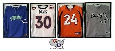 Lot of 4 White Backing Jersey Display Case Frame with Hangers Football GameDay