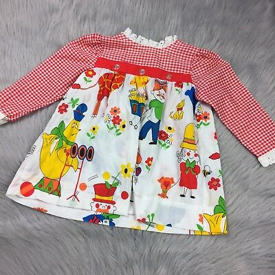 Vintage Toddletime Jcpenney Toddler Girls Circus Animal Dress Red Gingham