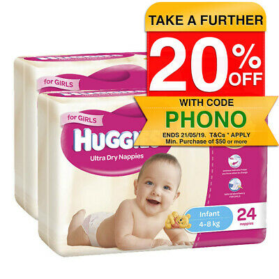 Huggies Size 2 4-8kg Ultra Dry Nappies Girl 48pk/Nappy Diaper Baby Infant/Disney