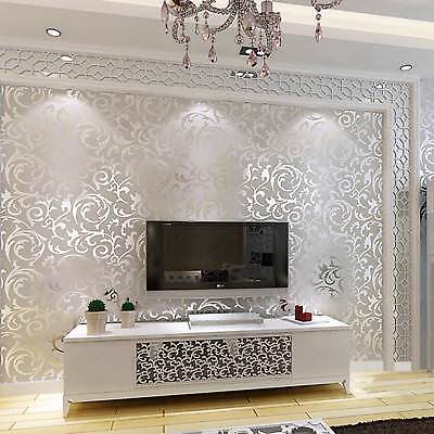 10M Damask Embossed 3D Textured Feature Art Wall Paper Wallpaper Roll SILVER NEW
