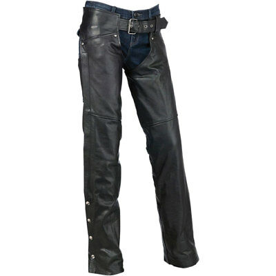 Z1R Womens Black Carbine Leather Motorcycle Chaps Size: Large