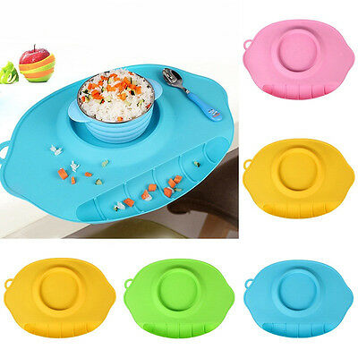 Sell One-piece Suction Silicone Mat Kid Table Food Dish Tray Placemat Plate Bowl