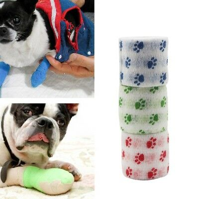 2 Roll Pet Dog Animal Vet Wound Cohesive Bandage Tape Self Adherent WrapBanda UK