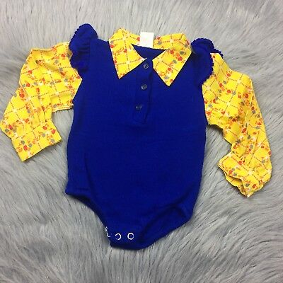 Vintage Baby Girls Blue Yellow Floral Ribbed Ruffle Body Suit Romper
