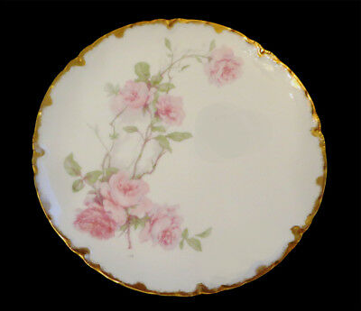 Antique Haviland Limoges Baltimore Rose, Pink, Coupe Plate