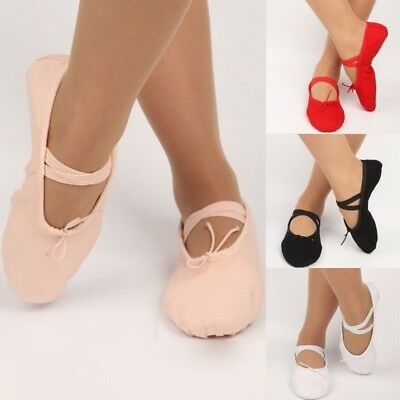 Adult Child Canvas Ballet Dance Shoes Girls Slippers Pointe Dance Gymnastics US