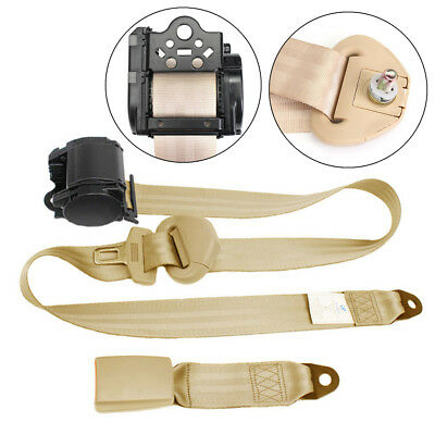Beige 3 Point Automatic Car Front Seat Belt Buckle Kit Retractable Safety Straps