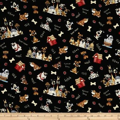 It'S A Dog Life Tossed Dogs & Words Black Cotton 100% Half Yard 45cm x 110cm