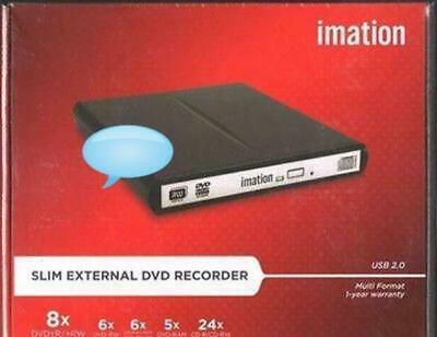 iMATION IMN-650 External Slim USB Powered DVD Burner Drive BLACK not samsung lg