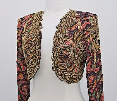 Jasdee Vintage Bolero Jacket Hand Work Bead & Sequins & Hand Print On Silk #2053