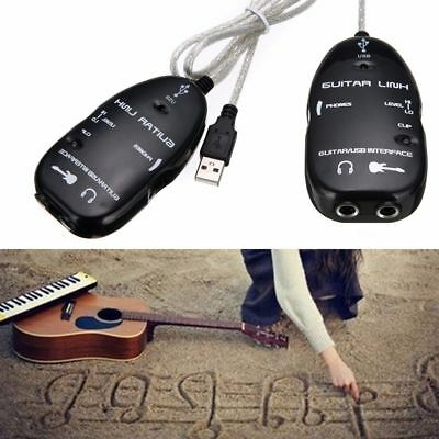 Black Guitar to USB Interface Link Cable Audio Adapter for PC/MAC Recording