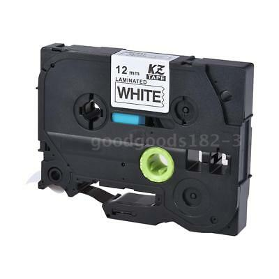 Brother Black on White P-Touch Label Tape 12mm x 8m PT-1010/2100/18R/E200/9500