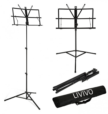 LIVIVO ® Folding Music Sheet Stand with Carry Case Bag – High Quality Height and