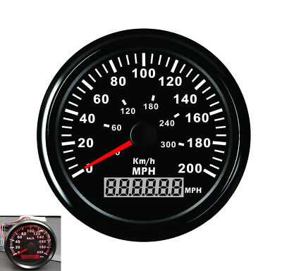 Universal 85mm GPS Speedometer Odometer Black Dial Red Light MPH ATV Quad Buggy