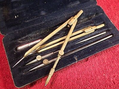WELL MADE VINTAGE ANTIQUE DRAFTING TOOL SET IN BOX MOSTLY BRASS marked 199