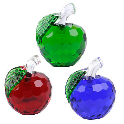 Crystal 3D Apple Shape Paperweight Figurine Glass Home Ornament Wedding Gift