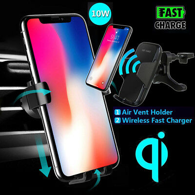 Qi Wireless Fast Charger Car Dashboard Holder Windscreen Air Vent Mount Charging