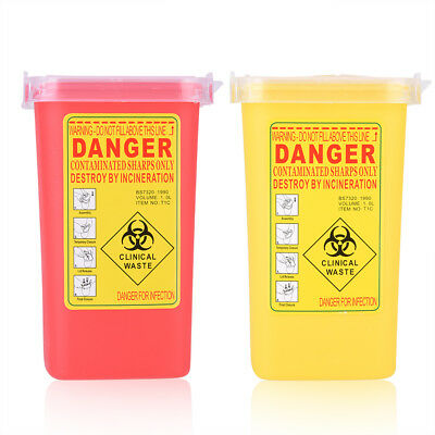 1L Plastic Sharps Container Biohazard Needle Disposal  Waste Box Red / Yellow SG