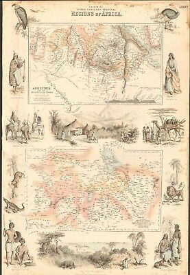 1874 ca LARGE ANTIQUE MAP- PETERMANN - ABYSSINIA, CENTRAL AFRICA