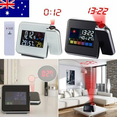 AU Projection Digital Weather LCD Alarm Clock Color Display LED Backlight Light