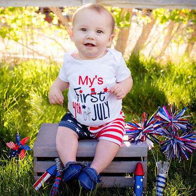 Toddler Baby Girls Boys Stars Striped Tops ShortsT Shirt 4th Of July Outfits Set