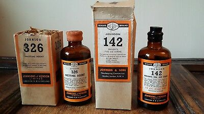 Vintage Johnsons Photographic Chemical Bottles - Developing Wetting Agent  Etc