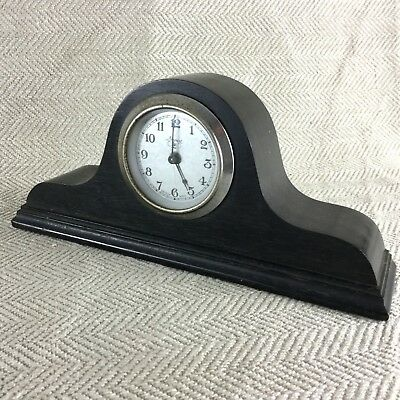 Antique Desk Clock Edwardian Clockwork Wind Up Ebony Wood Wooden