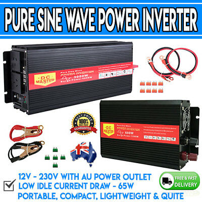 Pure Sine Wave 12V/230V Watt Power Inverter Converter Charger Car Camp Caravan