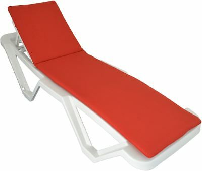 Red Sun Lounger Cushion Pad Replacement for Sunlounger Garden Patio Bed