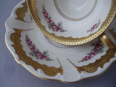 Antique Vtg Edelstein Bavaria Germany Porcelain Gold Pink Flowers Cup & Saucer