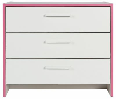 HOME Newport 3 Drawer Chest - Pink and White