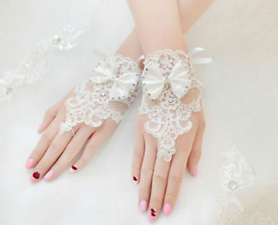 New Lace Brides Wedding Glove Floral Bowknot Fingerless Short Gloves