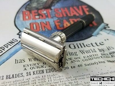 1969 O3 Gillette Black Handle Adjustable Vintage Double Edge Safety Razor