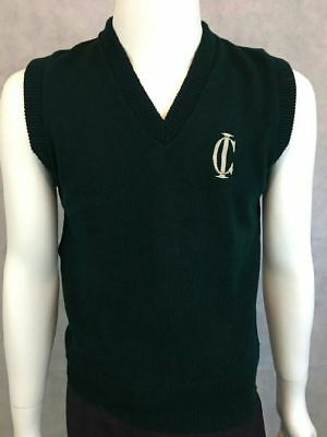 Men Sweater Vest Green V-Neck Sleeveless Size YXL Made With A+ Fabric By Parker