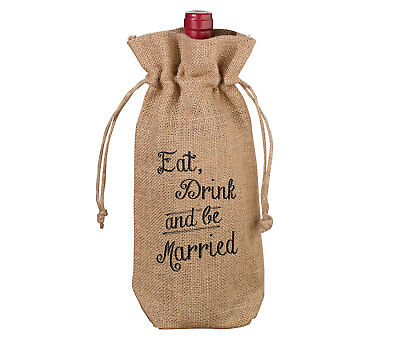 Eat, Drink And Be Married Burlap Wine Bottle Bag ~ Wedding Gift Bags