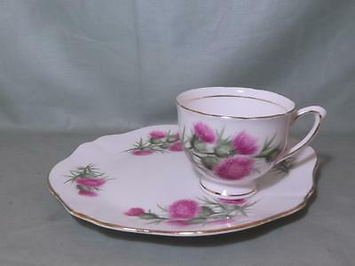 Colclough Thistle Pattern Bone China Tea Cup & Buffet Plate TV Snack No.8076