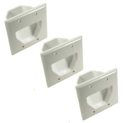 3x Black EZ Mount Low Voltage Pass Through Audio Video Cable Recessed Wall Plate
