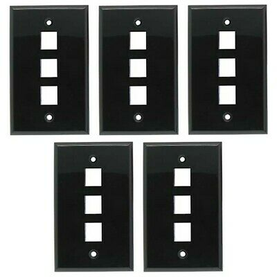 5x Black Smooth Face 6 Port Keystone Snap-in Jack Insert Wall Plate Faceplate