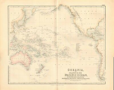 1874 ca LARGE ANTIQUE MAP- JOHNSON - OCEANIA OR ISLANDS IN THE PACIFIC OCEAN