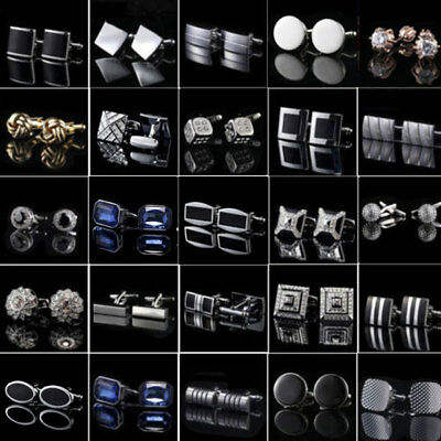 Men STAINLESS STEEL Business Cuffs Links Simple Wedding Silver Crystal Cufflinks