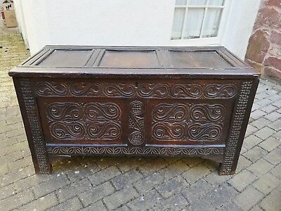 Superb 17th Century Carved Oak Coffer/ Chest