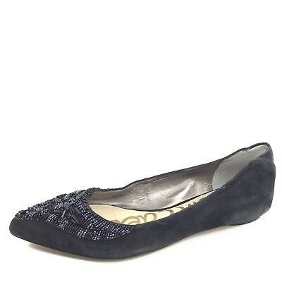 b28f322be Sam Edelman Cindi Womens Size 7.5 M Black Leather Rhinestone Flat Ballet  Shoes